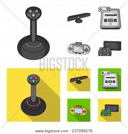Game And Tv Set-top Box Monochrome, Flat Icons In Set Collection For Design.game Gadgets Vector Symb