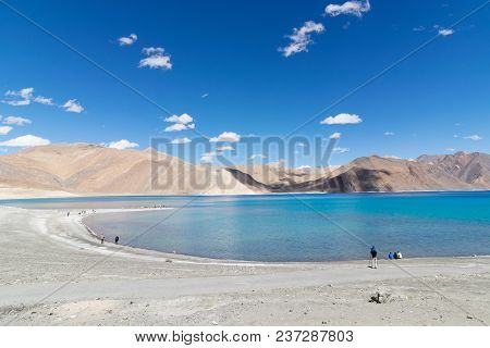 Mountains And Pangong Tso (lake). It Is Huge Lake In Ladakh, Altitude 4,350 M (14,270 Ft). It Is 134