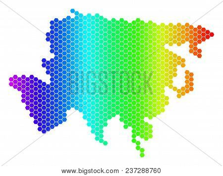 Hexagon Spectrum Asia Map. Vector Geographic Map In Bright Colors On A White Background. Spectrum Ha