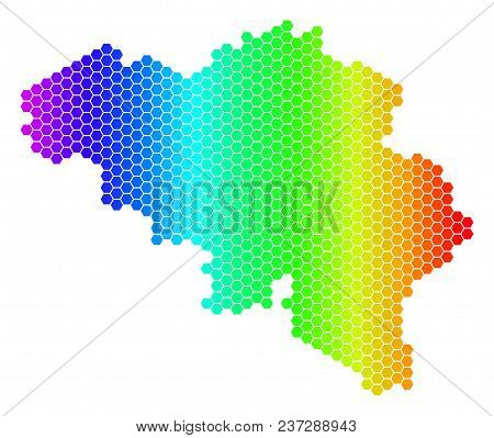 Spectrum Hexagonal Belgium Map. Vector Geographic Map In Bright Colors On A White Background. Spectr