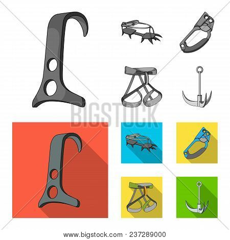 Hook, Mountaineer Harness, Insurance And Other Equipment.mountaineering Set Collection Icons In Mono