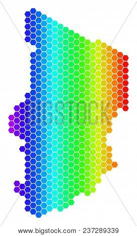 Spectrum Hexagonal Chad Map. Vector Geographic Map In Bright Colors On A White Background. Spectrum