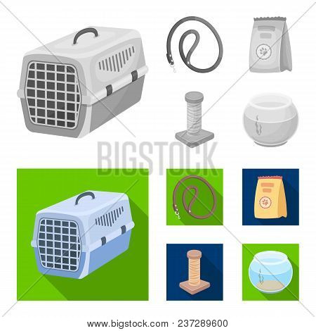 Leash, Feed And Other Zoo Store Products.pet Shop Set Collection Icons In Monochrome, Flat Style Vec