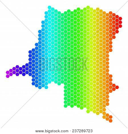 Spectrum Hexagonal Democratic Republic Of The Congo Map. Vector Geographic Map In Bright Colors On A