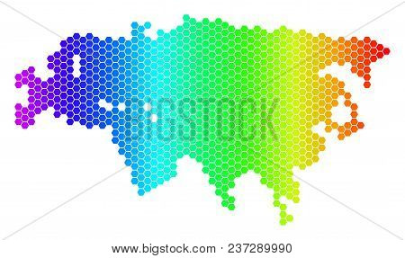 Hexagon Spectrum Eurasia Map. Vector Geographic Map In Bright Colors On A White Background. Spectrum