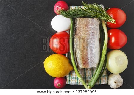 Natural foodstuffs for cooking from ripe raw vegetables, eggs and pollock. Healthy food concept. Top view. Copy space. poster