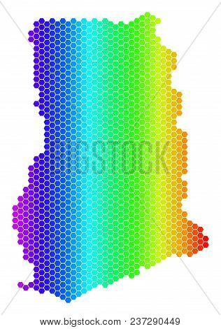 Spectrum Hexagonal Ghana Map. Vector Geographic Map In Bright Colors On A White Background. Spectrum