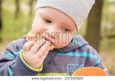 Little Boy Bites Off An Appetizing Bun Outdoors
