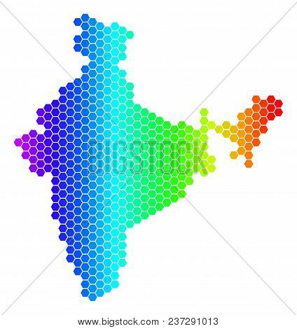 Spectrum Hexagonal India Map. Vector Geographic Map In Bright Colors On A White Background. Spectrum