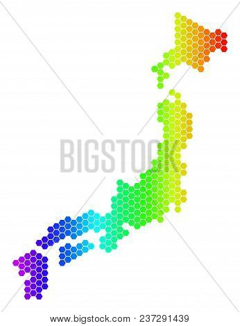 Spectrum Hexagonal Japan Map. Vector Geographic Map In Bright Colors On A White Background. Spectrum