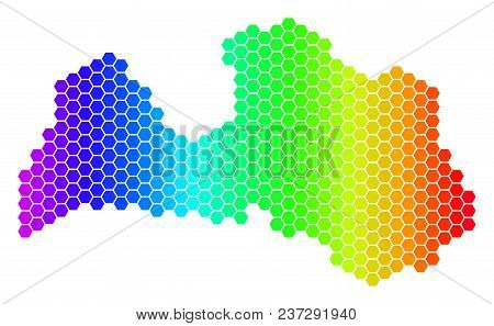 Spectrum Hexagonal Latvia Map. Vector Geographic Map In Bright Colors On A White Background. Spectru