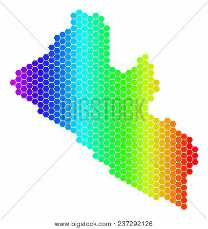 Spectrum Hexagonal Liberia Map. Vector Geographic Map In Bright Colors On A White Background. Spectr