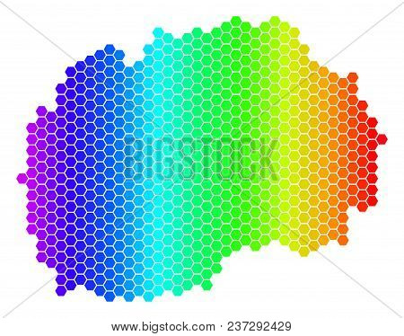 Hexagon Spectrum Makedonia Map. Vector Geographic Map In Bright Colors On A White Background. Spectr