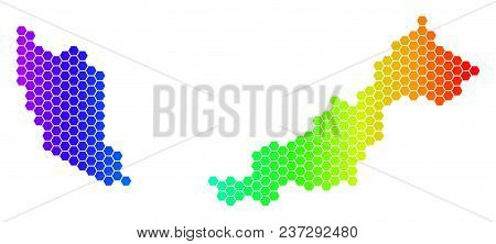 Spectrum Hexagonal Malaysia Map. Vector Geographic Map In Bright Colors On A White Background. Spect