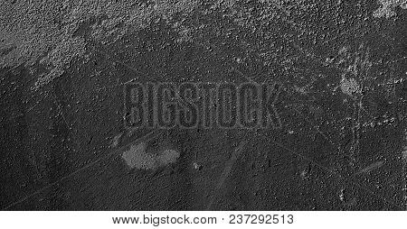 Abstract Grunge Black Grey Concrete Texture For Design. Rough Dirty Plaster Surface Wall Building Ba