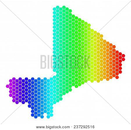 Hexagon Spectrum Mali Map. Vector Geographic Map In Bright Colors On A White Background. Spectrum Ha