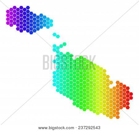 Spectrum Hexagonal Malta Island Map. Vector Geographic Map In Bright Colors On A White Background. S