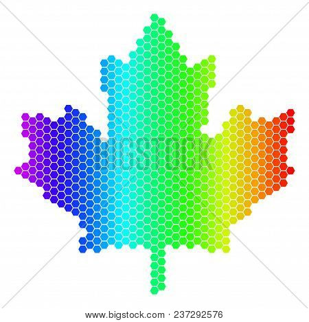 Hexagon Spectrum Maple Leaf. Vector Geographic Map In Bright Colors On A White Background. Spectrum