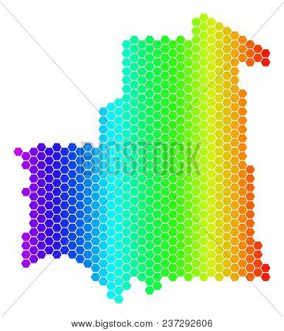 Hexagon Spectrum Mauritania Map. Vector Geographic Map In Bright Colors On A White Background. Spect