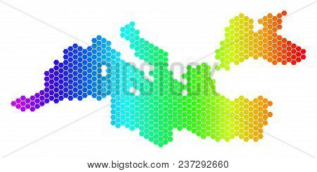 Hexagon Spectrum Mediterranean Sea Map. Vector Geographic Map In Bright Colors On A White Background