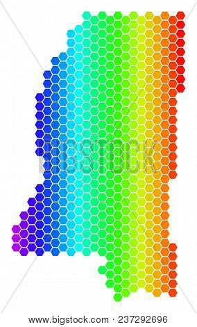Spectrum Hexagonal Mississippi State Map. Vector Geographic Map In Bright Colors On A White Backgrou