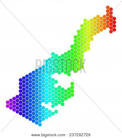 Spectrum Hexagonal Monaco Map. Vector Geographic Map In Bright Colors On A White Background. Spectru