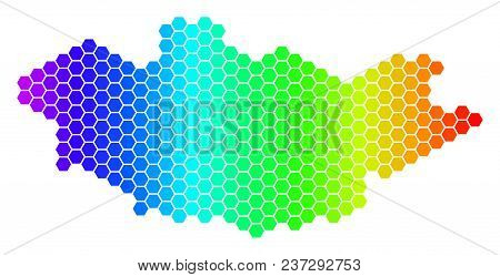 Hexagon Spectrum Mongolia Map. Vector Geographic Map In Bright Colors On A White Background. Spectru