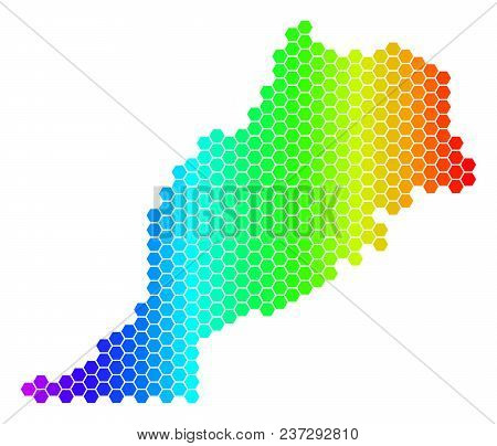 Hexagon Spectrum Morocco Map. Vector Geographic Map In Bright Colors On A White Background. Spectrum