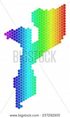 Spectrum Hexagonal Mozambique Map. Vector Geographic Map In Bright Colors On A White Background. Spe