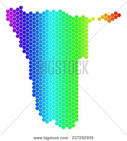 Hexagon Spectrum Namibia Map. Vector Geographic Map In Bright Colors On A White Background. Spectrum