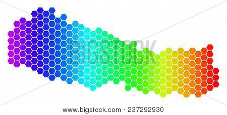 Spectrum Hexagonal Nepal Map. Vector Geographic Map In Bright Colors On A White Background. Spectrum