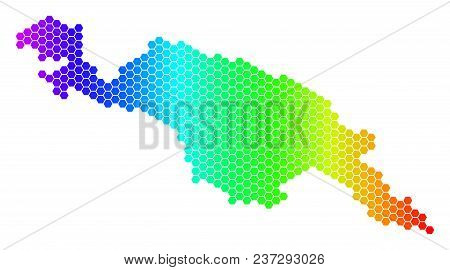 Hexagon Spectrum New Guinea Island Map. Vector Geographic Map In Bright Colors On A White Background