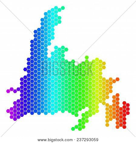 Spectrum Hexagonal Newfoundland Island Map. Vector Geographic Map In Bright Colors On A White Backgr