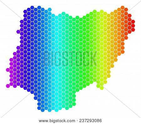 Spectrum Hexagonal Nigeria Map. Vector Geographic Map In Bright Colors On A White Background. Spectr