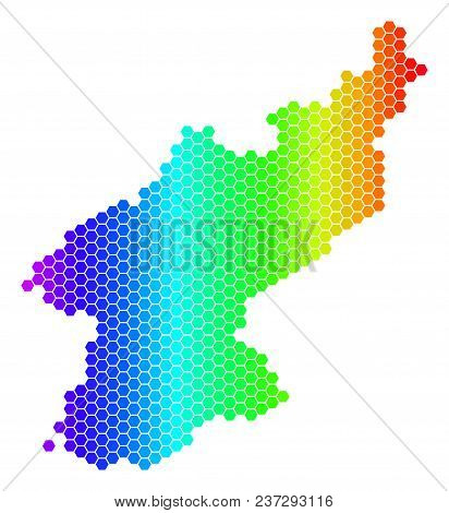 Hexagon Spectrum North Korea Map. Vector Geographic Map In Bright Colors On A White Background. Spec