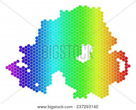 Hexagon Spectrum Northern Ireland Map. Vector Geographic Map In Bright Colors On A White Background.