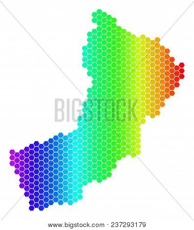 Hexagon Spectrum Oman Map. Vector Geographic Map In Bright Colors On A White Background. Spectrum Ha