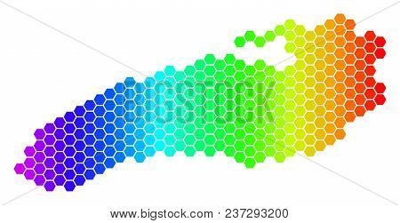 Hexagon Spectrum Ontario Lake Map. Vector Geographic Map In Bright Colors On A White Background. Spe