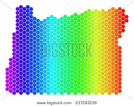 Spectrum Hexagonal Oregon State Map. Vector Geographic Map In Bright Colors On A White Background. S