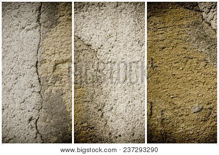 Plaster Concrete Texture, Stone Surface, Rock Cracked Background For Postcard.