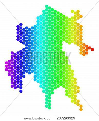 Hexagon Spectrum Peloponnese Half-island Map. Vector Geographic Map In Bright Colors On A White Back