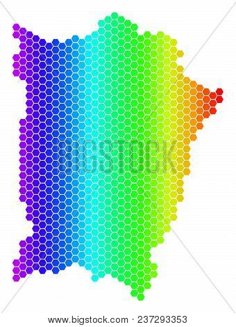 Spectrum Hexagonal Penang Island Map. Vector Geographic Map In Bright Colors On A White Background.