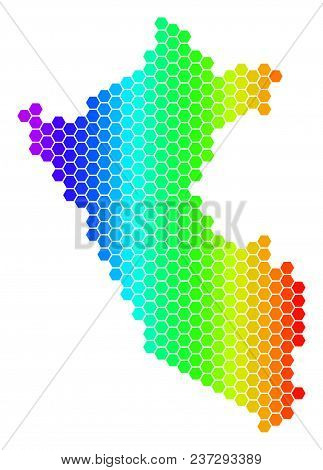 Hexagon Spectrum Peru Map. Vector Geographic Map In Bright Colors On A White Background. Spectrum Ha
