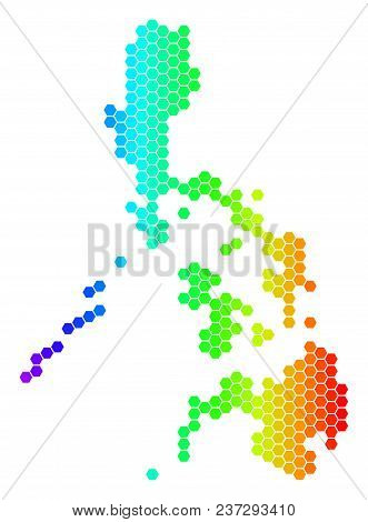Hexagon Spectrum Philippines Map. Vector Geographic Map In Bright Colors On A White Background. Spec