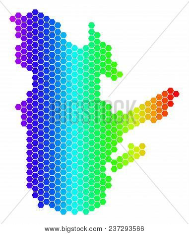 Hexagon Spectrum Quebec Province Map. Vector Geographic Map In Bright Colors On A White Background.