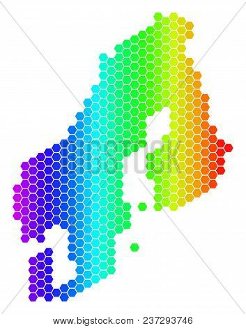 Spectrum Hexagonal Scandinavia Map. Vector Geographic Map In Bright Colors On A White Background. Sp