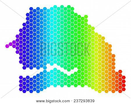 Hexagon Spectrum Senegal Map. Vector Geographic Map In Bright Colors On A White Background. Spectrum