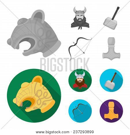 Viking In Helmet With Horns, Mace, Bow With Arrow, Treasure. Vikings Set Collection Icons In Monochr