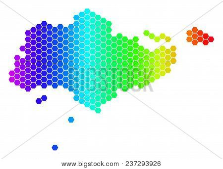 Hexagon Spectrum Singapore Map. Vector Geographic Map In Bright Colors On A White Background. Spectr