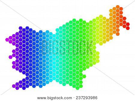Hexagon Spectrum Slovenia Map. Vector Geographic Map In Bright Colors On A White Background. Spectru